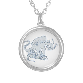 Giant Octopus Fighting Astronaut Drawing Silver Plated Necklace