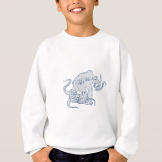 Giant Octopus Fighting Astronaut Drawing Sweatshirt
