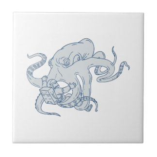 Giant Octopus Fighting Astronaut Drawing Tile