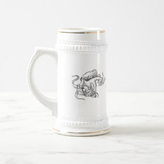 Giant Octopus Fighting Astronaut Tattoo Beer Stein