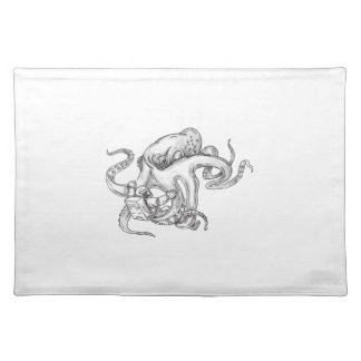 Giant Octopus Fighting Astronaut Tattoo Placemat