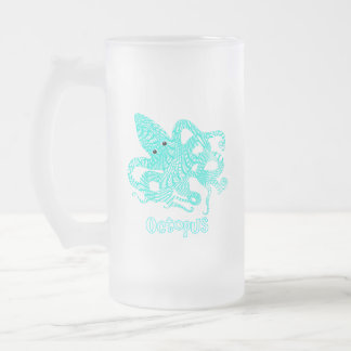 Giant Octopus Nautical Creature Graphic Frosted Glass Beer Mug