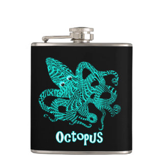 Giant Octopus Nautical Creature Graphic Hip Flask