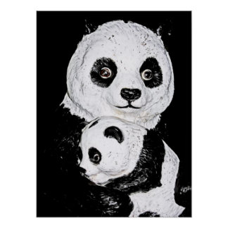Giant Panda and Cub, Style 2 Poster