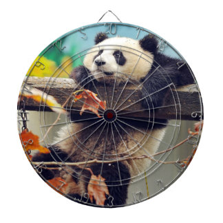 Giant panda baby over the tree dartboard