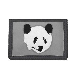 Giant Panda Bear Face Trifold Wallets