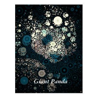 Giant Panda Concentric Circles Blue Postcard
