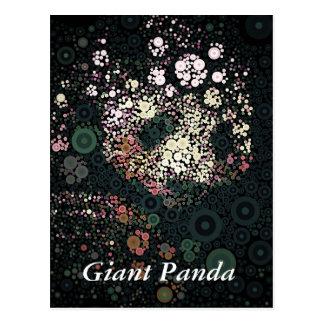 Giant Panda Concentric Circles Yellow Postcard