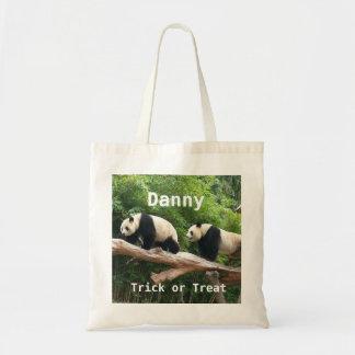 Giant panda custom personalize trick or treat tote bag