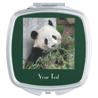 Giant Panda Green Background Custom Compact Mirror