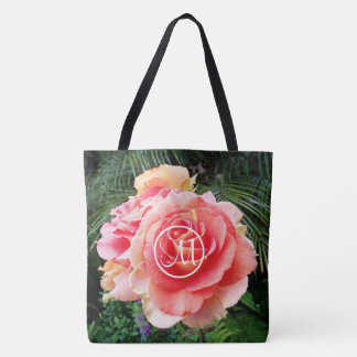 Giant pink rose close-up photo custom monogram tote bag