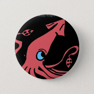 Giant pink squid on black background 2 inch round button