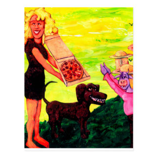 Giant, Pizza, Dog and Cow Postcard