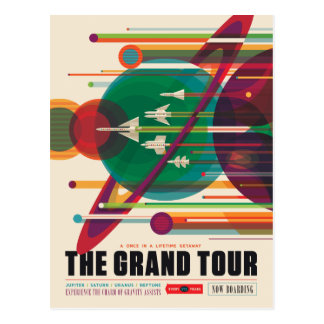 Giant Planets Grand Tour Space Illustration Postcard
