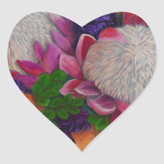 Giant Proteas and Orange Roses Heart Sticker