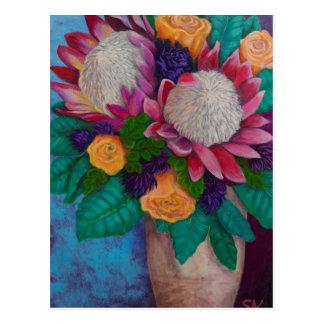 Giant Proteas and Orange Roses Postcard