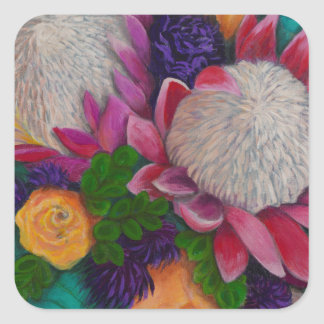 Giant Proteas and Orange Roses Square Sticker