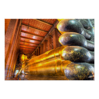 Giant reclining Buddha inside temple, Wat Pho, Poster