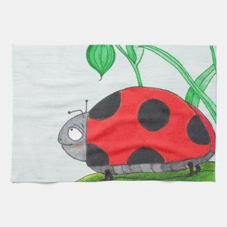 Giant red ladybug on a leaf kitchen towel