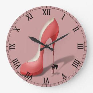 Giant Red Stiletto Cartoon - Pole Dancing Stripper Large Clock