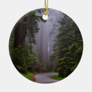 Giant Redwood Trees, Winding Road, National Park Round Ceramic Ornament