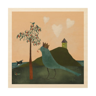 Giant royal  bluebird and orca painting wood print