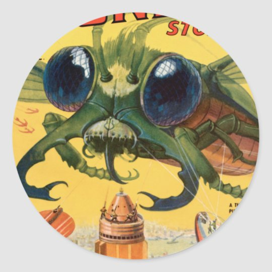 Giant Scary Fly Classic Round Sticker