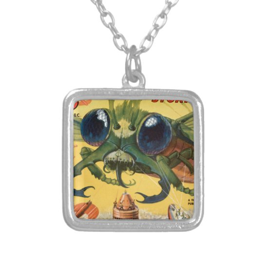 Giant Scary Fly Silver Plated Necklace
