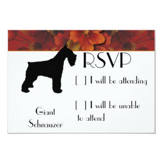 "Giant Schnauzer - Autumn Flower Design 3.5"" X 5"" Invitation Card"