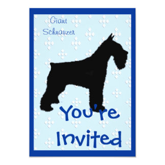 "Giant Schnauzer ~ Blue w/White Diamond Design 5"" X 7"" Invitation Card"