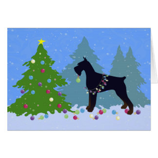 Giant Schnauzer Christmas Forest Greeting Card