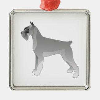 Giant Schnauzer Dog Breed Illustration Silhouette Silver-Colored Square Ornament