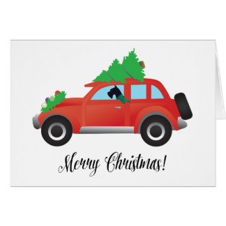 Giant Schnauzer Driving a Car - tree on top Greeting Card
