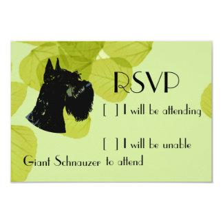 "Giant Schnauzer ~ Green Leaves Design 3.5"" X 5"" Invitation Card"