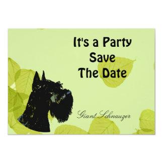 Giant Schnauzer ~ Green Leaves Design 4.5x6.25 Paper Invitation Card