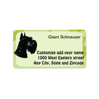 Giant Schnauzer ~ Green Leaves Design Label