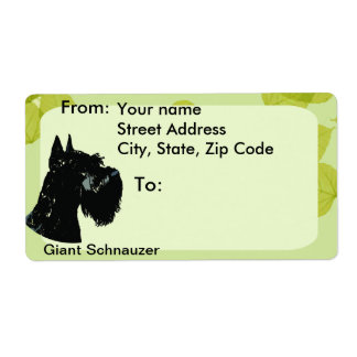 Giant Schnauzer ~ Green Leaves Design Shipping Label
