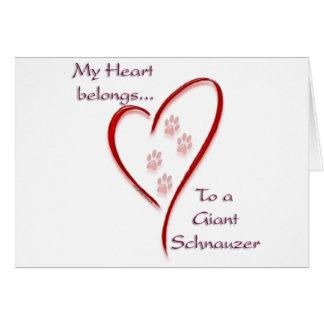 Giant Schnauzer Heart Belongs Greeting Card