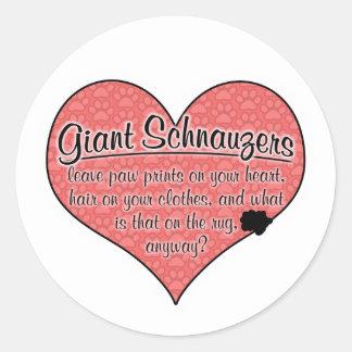 Giant Schnauzer Paw Prints Dog Humor Round Sticker