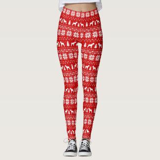 Giant Schnauzer Silhouettes Christmas Pattern Leggings