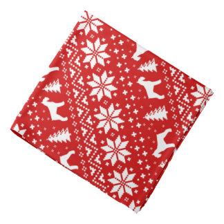 Giant Schnauzer Silhouettes Christmas Pattern Red Bandana