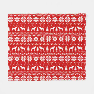 Giant Schnauzer Silhouettes Christmas Pattern Red Fleece Blanket