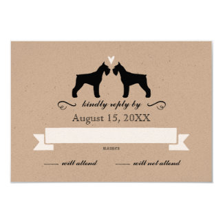 "Giant Schnauzer Silhouettes Wedding RSVP Reply 3.5"" X 5"" Invitation Card"