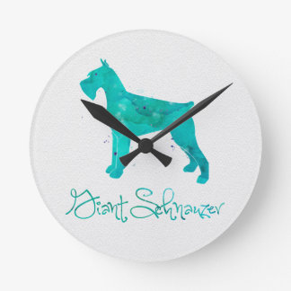 Giant Schnauzer Watercolor Design Round Clock