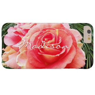 Giant soft pink rose close-up photo custom name barely there iPhone 6 plus case