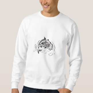 Giant Trevally Jumping Down Tribal Art Sweatshirt
