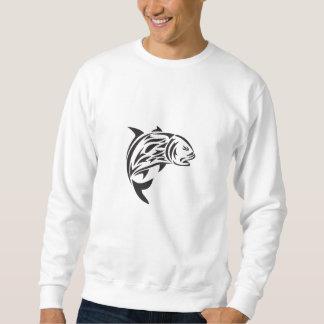 Giant Trevally Jumping Tribal Art Sweatshirt