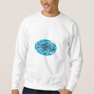 Giant Trevally Side Oval Tribal Art Sweatshirt