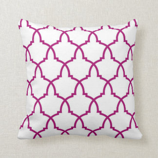 Giant Urn Plum Lattice with White Throw Pillow