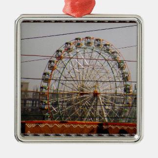 Giant Wheel Rides New Delhi India Craft Festivals Silver-Colored Square Ornament